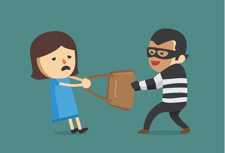 snatch: Bandit snatching bag of woman. This illustration about crime and violence.