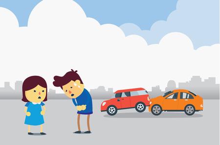 Man présente ses excuses aux femmes parce qu'il conduire à bloquer avec sa voiture.