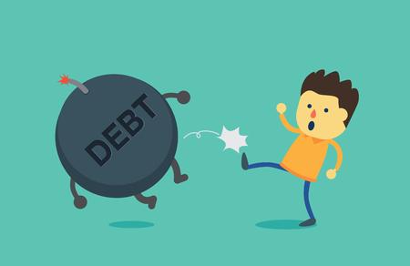 patada: Hombre bomba de la deuda saque fuera de su cuerpo. Esta ilustración es el concepto sobre el pago de la deuda