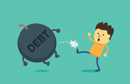 pay off: Man kick debt bomb away from his body. This illustration is concept about pay off debt Illustration