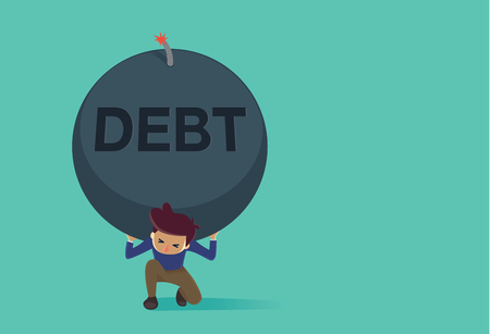 burden: Man kneeling down on the floor because carrying a big bomb of debt on his shoulder. This Illustration is concept about credit card debt.