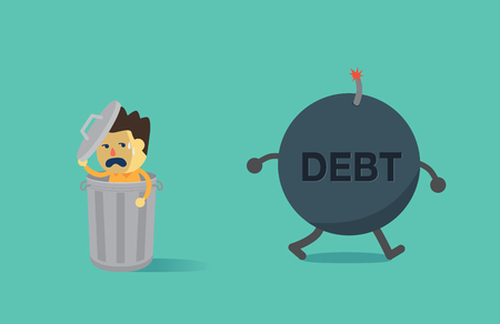 dodge: Man hiding from the debt bomb in a bin. This illustration is concept about not pay debt.