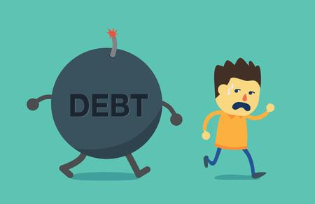 no correr: El hombre huye de bomba de la deuda. Esta ilustración es el concepto de no pagar la deuda.