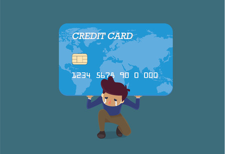 balances: Man carrying a big credit card on his shoulder. This Illustration is concept about credit card debt.