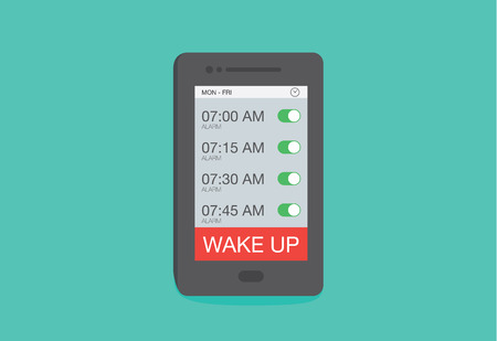 Set up multiple alarm on smart phone for wake up. Vectores