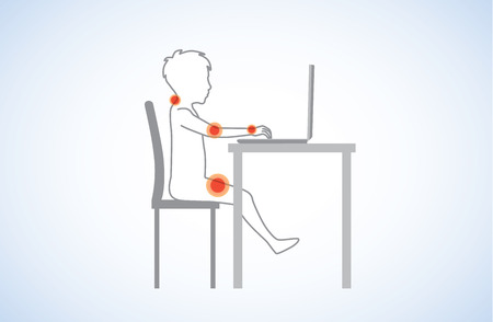 incorrect: Incorrect body alignment of kids in sitting front of the computer causes of body pain. Illustration about health.