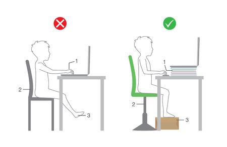 컴퓨터 앞에 앉아있는 아이들을위한 올바른 신체 정렬. 일러스트