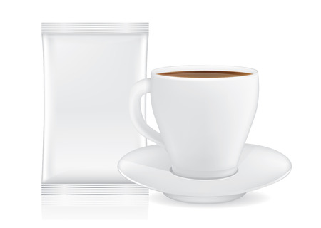 envelopes: White coffee cup and saucer near blank sachet small size isolated on white. This illustration for pack shot of coffee, tea, or other drink.