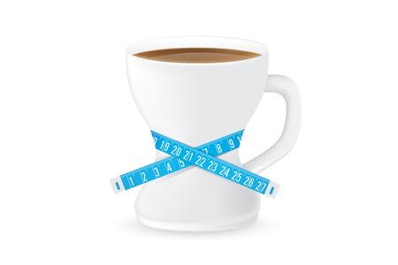 cintura: Taza de café tienen una forma curva como un cuerpo bien proporcionado de la mujer. Vidrio del café tiene la cinta métrica alrededor. Esta ilustración sobre el concepto de bebidas de adelgazamiento.