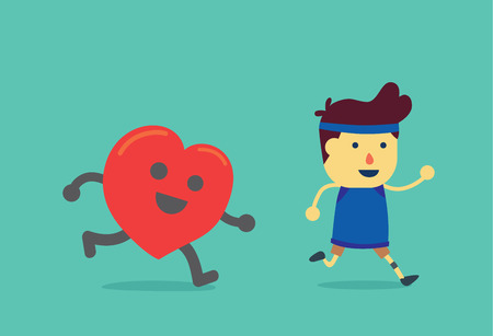 Heart run after healthy man. This illustration about when a man running like a heart get exercising. Illustration