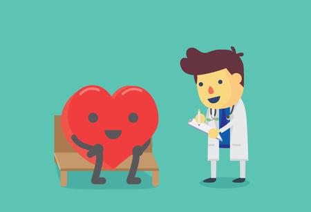 El corazón se sienta en una silla para la salud chequeo con el médico. Esta ilustración sobre el chequeo de salud. Ilustración de vector