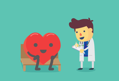 health check: Heart sitting on a chair for health check up with doctor. This illustration about health check.