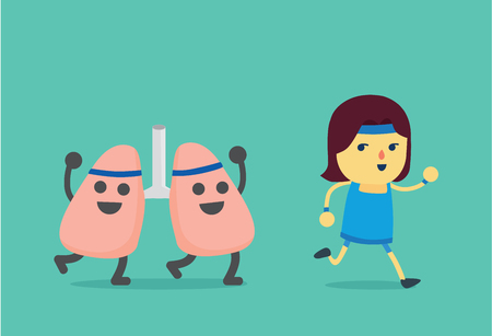 Woman workout with running and lung imitate her. This illustration about when a woman running like a lung get exercising. Illustration