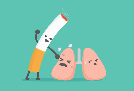 harming: Lung have been beaten from cigarette. This picture means smoking like the lung harming. Illustration