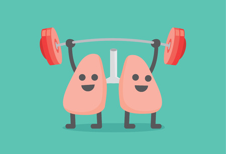 exhalation: Lung enjoy with weight lifting. This illustration about people have healthy lung