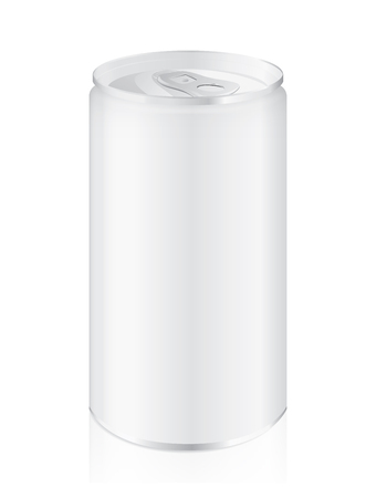 tonic: Aluminum can blank label small size isolated on white background. Ideal for cold beverage. Illustration