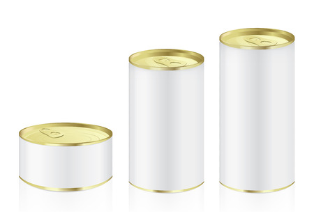 Aluminum can have gold color lid in difference size ideal for food and other Illustration