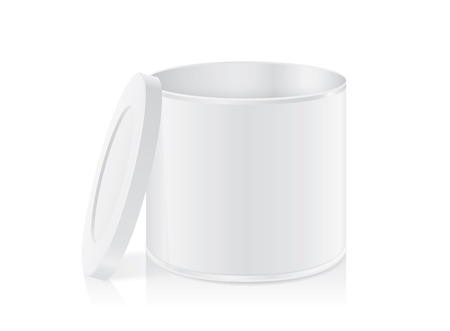 tin can: White tin can open cap isolated on white background. Packaging template for food product and other.
