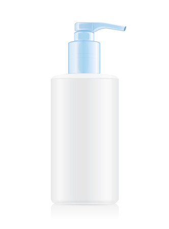 beauty product: White opaque bottles with blue airless pump. Ideal for beauty product mock up and hygiene or other.