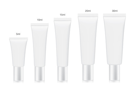 cream tube: White cosmetic tube collection arranged in order of size from small to large. Container vector for a mock up isolated on white background.