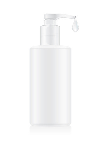 toner: Pump plastic bottles container white color with water drop. Ideal for packaging mock up of facial cleansing toner and oil and water or other.