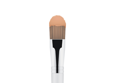 cream color: Foundation cream brown color on cosmetic brush. Illustration