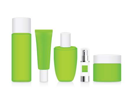 verdant: Group shot cosmetic container green color with white cap. For product container mock up