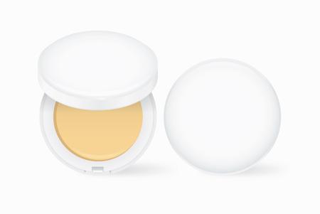 化粧は白ケースでヌード色をフェイス パウダー。化粧品では開閉して他のモックを作成します。