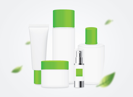 group shot: Group shot cosmetic container white color with green cap in a scene of blowing leaves in the wind. Illustration