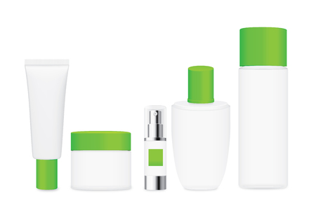 verdant: Group shot cosmetic container white color with green cap. For product container mock up Illustration