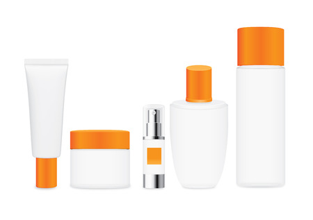 group shot: Group shot cosmetic container white color with orange cap. For product container mock up