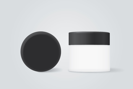 group shot: Group shot cosmetic container white color with black cap. For product container mock up
