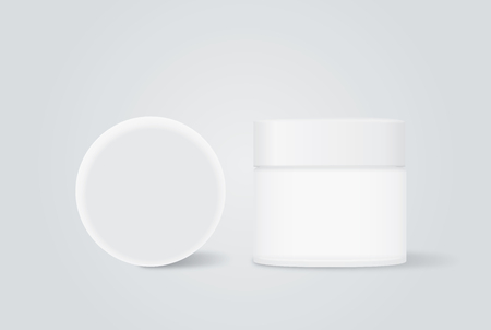 hair mask: Opaque cream jar with white cap for beauty product mock up design in front view and top view.