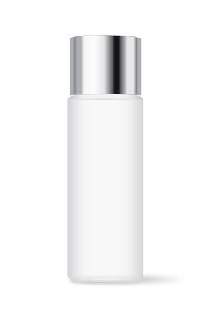 シルバーのキャップが白い背景で隔離の化粧品ボトル。顔クレンジング包装とローション、スキンケアなどに最適です。