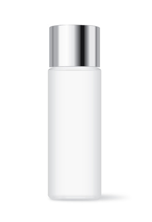 Cosmetic bottle with silver cap isolated on white background. Ideal for facial cleansing packaging and lotion and skincare or other.