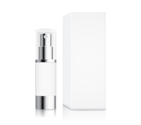 Cosmetic pump bottle small size and white box isolated on white for serum container mock up and cream and gel or other job. Иллюстрация