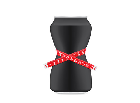 slimming: Drink can black color have a curve shape like a shapely body of woman. Beverage can have measuring tape around. This illustration about slimming drink concept.