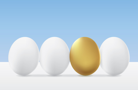 identify: Different egg golden color from white group. Money saving concept Illustration
