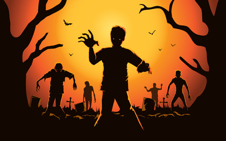 Zombie walking out from grave. Silhouettes illustration about Halloween concept.