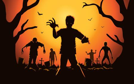 Zombie lopen uit het graf. Silhouetten illustratie over Halloween concept.