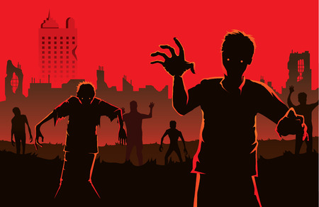 outbreak: Zombie walking out from abandoned city. Silhouettes illustration about Halloween concept.