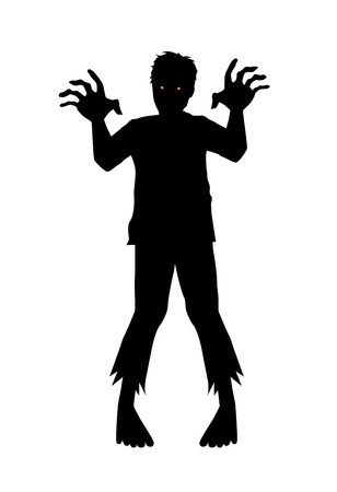 Vector zombie reaching out hand in silhouette style.
