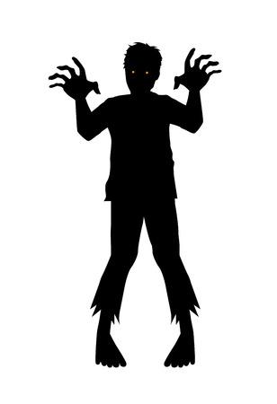 Zombie di vettore che tende la mano in stile silhouette.