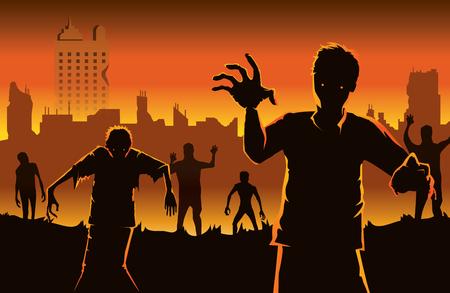 Zombi caminando hacia fuera de la ciudad abandonada. Siluetas ilustración sobre el concepto de Halloween.