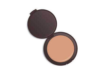 Make-up-Pulver Farbe in dunkelbraunes Pulver Fall, der auf weißem Hintergrund isoliert geöffnet.