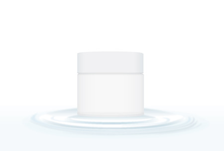 capillary: White cream packaging on rippled water circle waves. Ideal for visual design of product or other. Illustration
