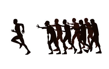 Silhouette runner weg te lopen van zombie groep geïsoleerd op een witte achtergrond. Stock Illustratie