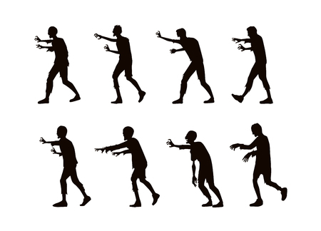run: zombie walking and reaching out hand in silhouette style. Illustration