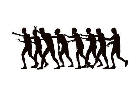 シルエット ゾンビ グループは、白い背景の上を歩きます。