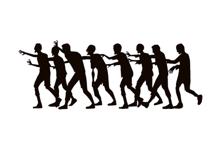 Silhouette zombie group walking on white background. Stock Illustratie